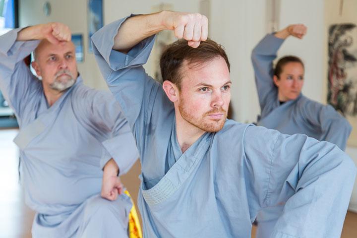 Kung Fu Gruppenunterricht im Shaolin Chan Tempel Luzern - Schweiz. Es wird eine Faustform gezeigt.