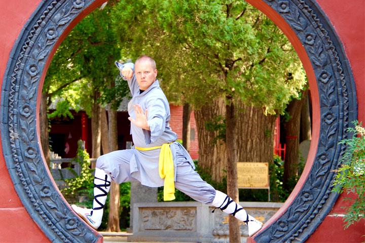 Instruktorenbild des Shaolin Chan Tempels Schweiz, Lin Hao, Andreas Krieger.