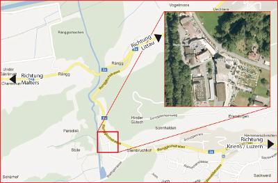 Lageplan und Anfahrtsweg zum Shaolin Chan Tempel Luzern Schweiz.