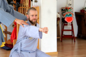 Kung Fu Athlet macht einen Fauststoss.
