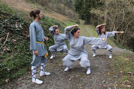 Shaolin Kung Fu Instruktor Dominik Pfyffer unterrichtet Wochenaufenthalter in einem Waldstück nahe des Shaolin Chan Tempels Luzern - Schweiz.