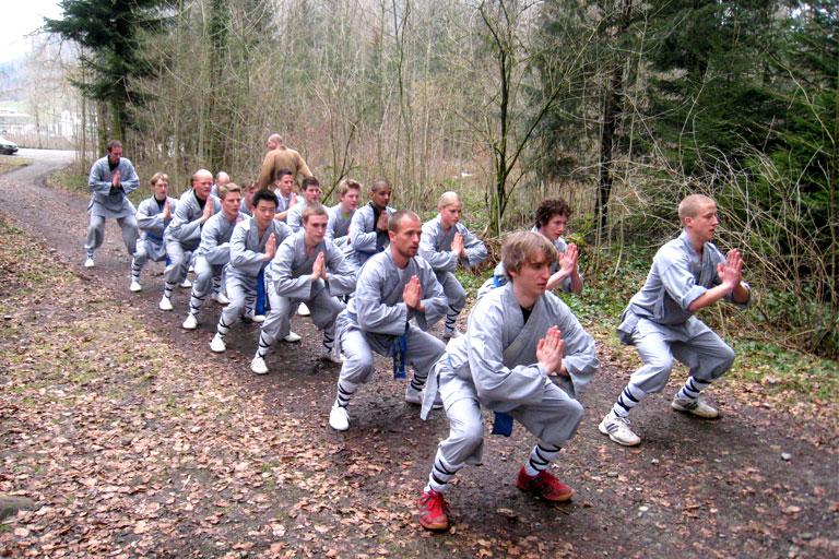 Teilnehmer des Seminars Stunden der Shaolin des Shaolin Chan Tempels Luzern - Schweiz machen anstrengende Übungen in einem Waldstück.