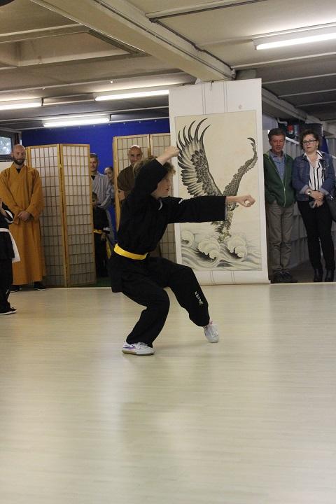 Athlet zeigt Kung Fu Form.
