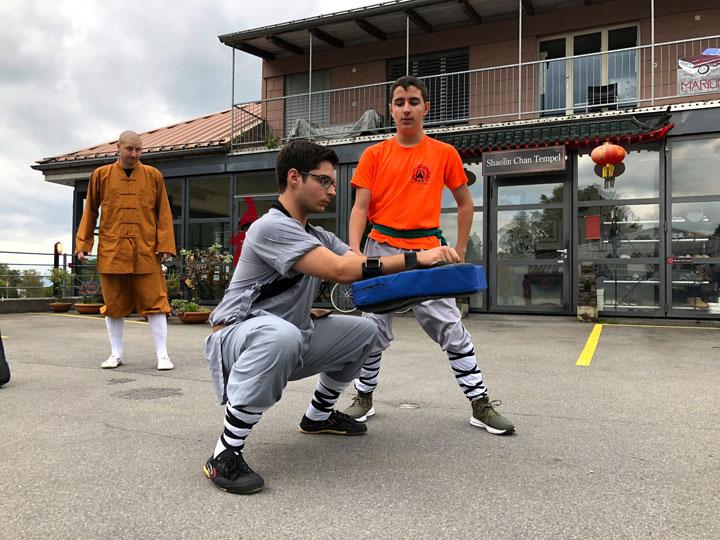 Ma Bu (Stand) und Kung Fu Kicktraining.