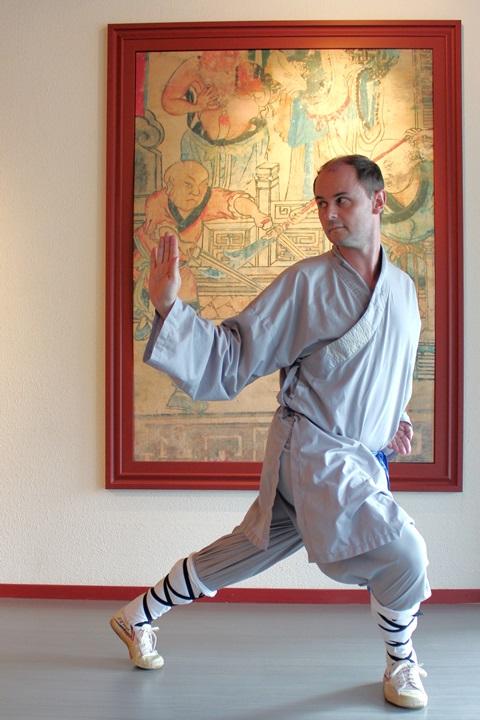 Pascal beim Kung Fu Trainining im Tempel