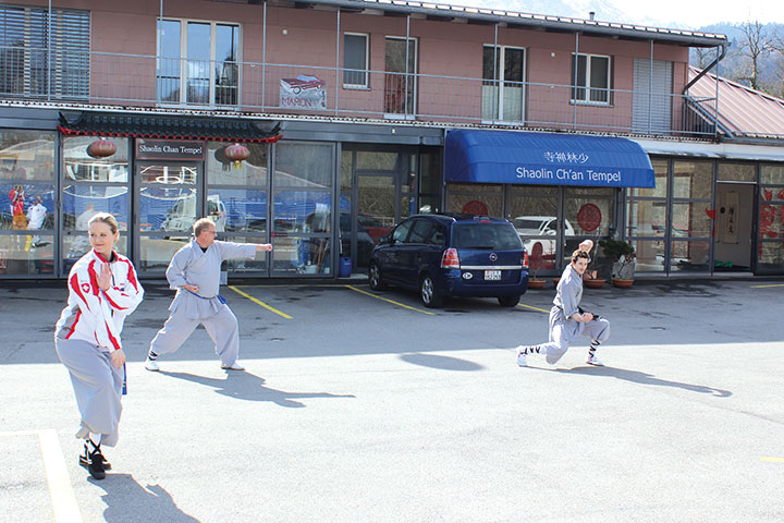 Kung Fu Training im Freien.