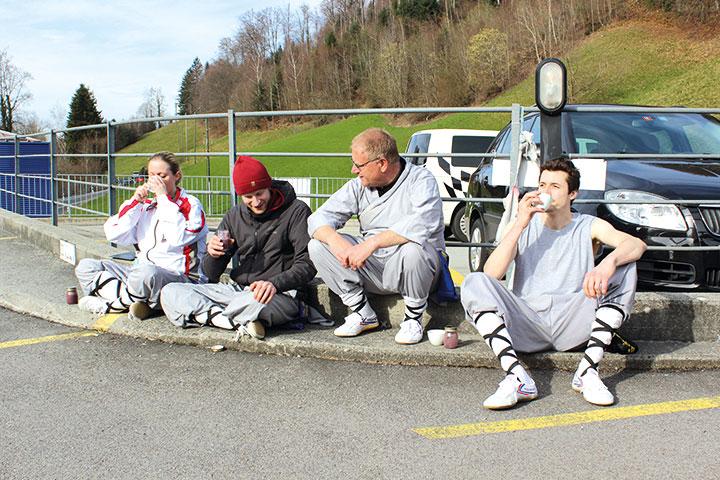 Kung Fu Schüler machen Pause